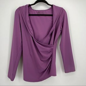 Soma Lilac Ruched Side Pullover Hoodie Small